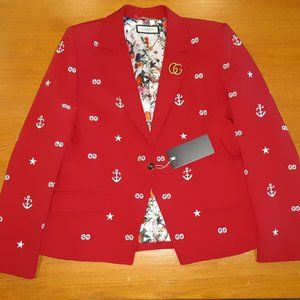 GUCCI WOMENS RED BRAND LOGO CASUAL JACKET